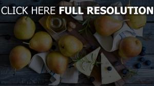 heidelbeeren käse obst birnen