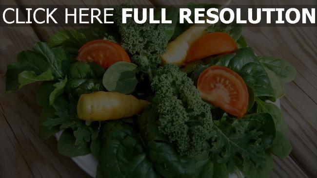 hd hintergrundbilder karotten spinat salat tomaten gemüse