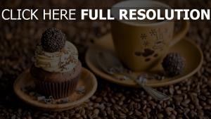 kaffee tasse süßigkeiten cupcake bohnen