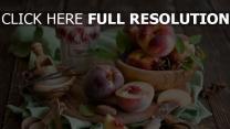 pfirsiche zucker zimt gewürze löffel messer schüssel