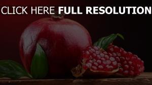 granatapfel rot bohnen blättern früchten