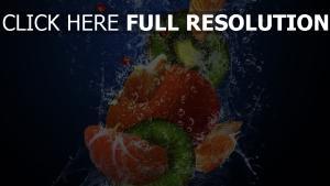 obst mandarinen kiwis blasen wasser