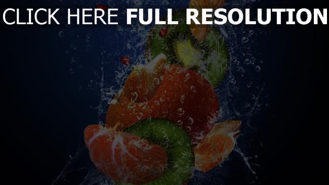hd hintergrundbilder obst mandarinen kiwis blasen wasser