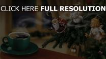 kaffee paar tasse fichte spielzeug weihnachten