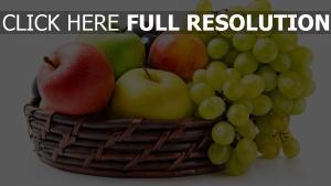 trauben Äpfel korb obst