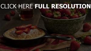 erdbeeren pfanne kuchen schüssel tabelle
