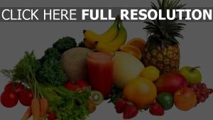 gemüse obst ernte saft ananas banane kräuter