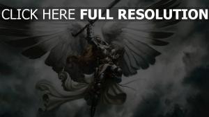 schwert engel flügel himmel malerei fliegen