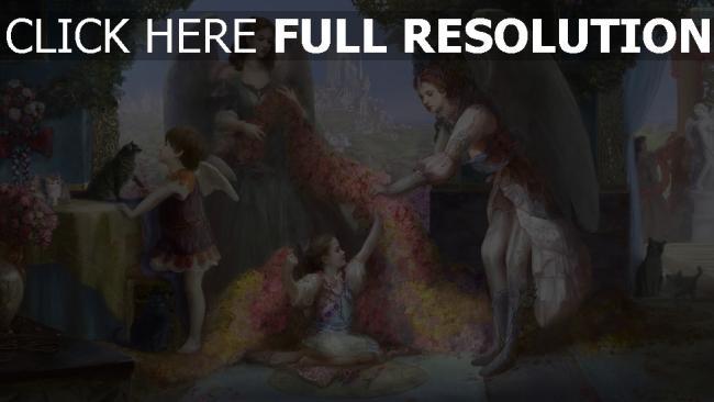 hd hintergrundbilder blumen familie katzen haus komfort engel