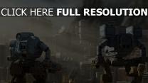 wolkenkratzer menschen stadt aufregung roboter zerstörung