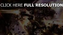 cyborg mädchen zerstörung roboter schießen waffen
