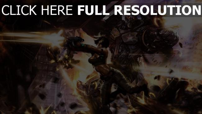 hd hintergrundbilder cyborg mädchen zerstörung roboter schießen waffen