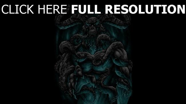 hd hintergrundbilder tentakeln dämon hörner malerei