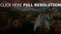 berg drachen schloss prinzessin landschaft