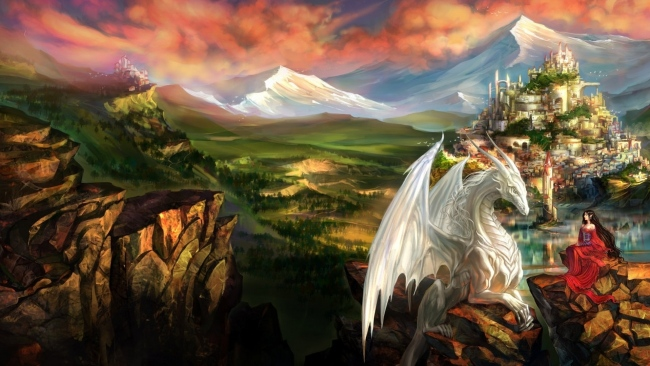 hd hintergrundbilder berg drachen schloss prinzessin landschaft