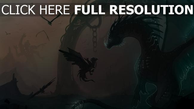hd hintergrundbilder kette vögel junge drache