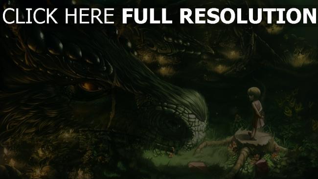 hd hintergrundbilder malerei mädchen wald drachen