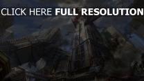 drachen wolkenkratzer zerstörung stadt