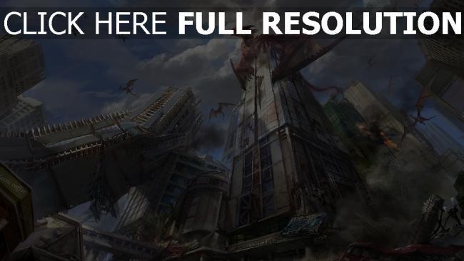 hd hintergrundbilder drachen wolkenkratzer zerstörung stadt