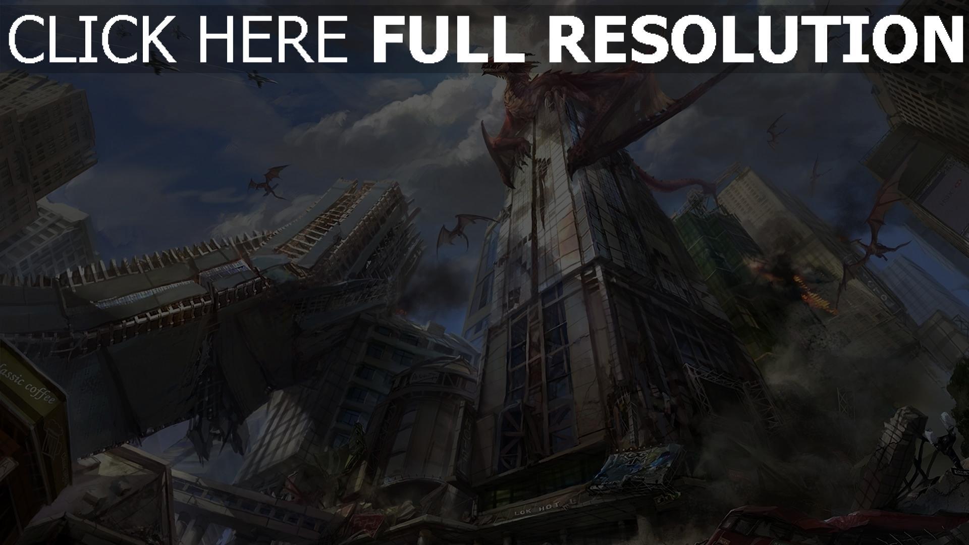 hd hintergrundbilder drachen wolkenkratzer zerstörung stadt 1920x1080