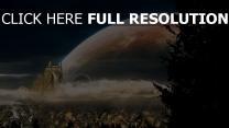 planeten himmel berge gebäude wald wolken bäume
