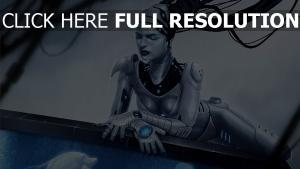 cyborg mädchen mechanismus aquarium fisch