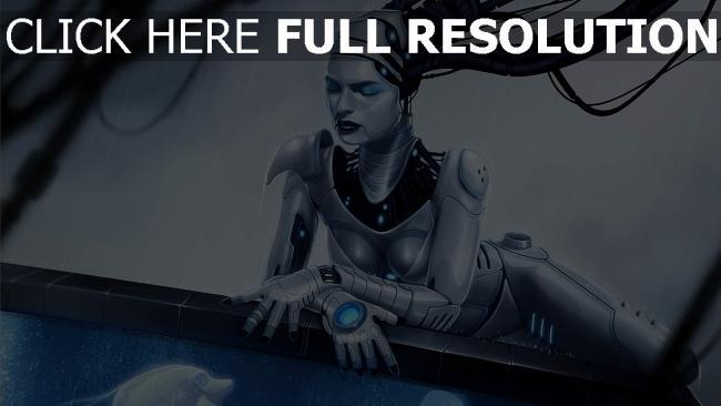 hd hintergrundbilder cyborg mädchen mechanismus aquarium fisch