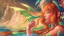 mädchen lilie wasser baby berge wasser drachen