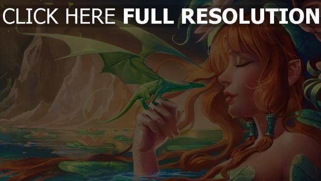 hd hintergrundbilder mädchen lilie wasser baby berge wasser drachen