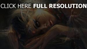 elf ohren malerei licht blätter mädchen