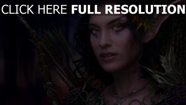 hd hintergrundbilder bogen pfeile make-up mädchen elf