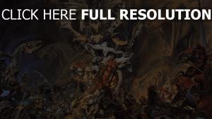 soldaten dämon untote skelette kampf pferde