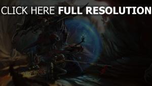 schlacht fantasie rüstung höhle krieger malerei