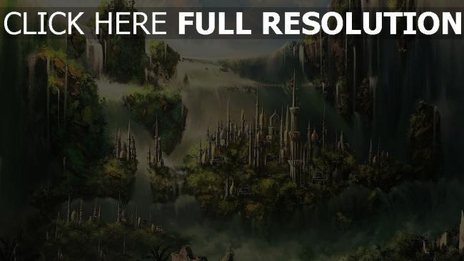 hd hintergrundbilder wolken gebäude wasserfälle grün stadt