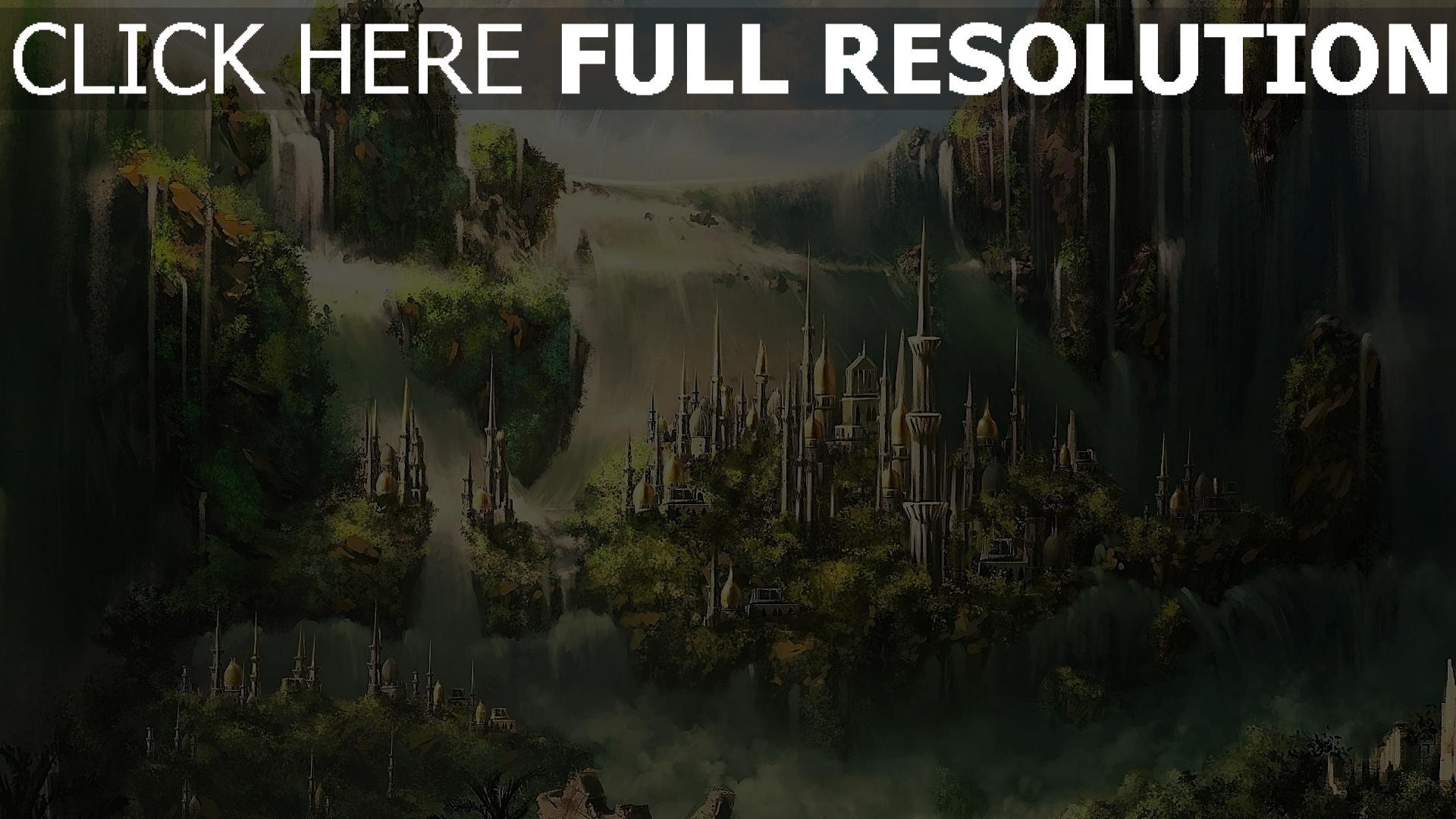 hd hintergrundbilder wolken gebäude wasserfälle grün stadt 1920x1080