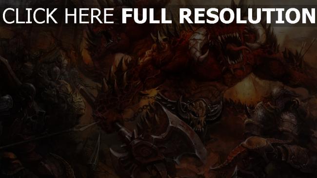 hd hintergrundbilder waffen malerei dämonen krieger rüstung