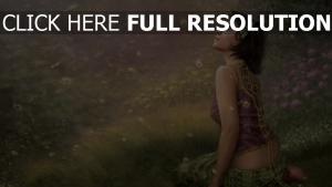 gras mädchen fantasie sitzen