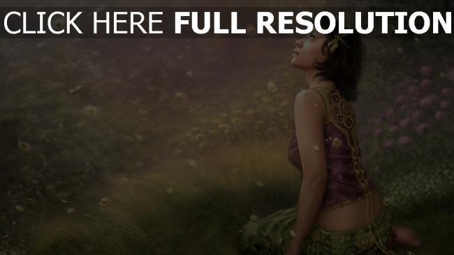 hd hintergrundbilder gras mädchen fantasie sitzen