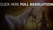 natur wald malerei fantasie mädchen pferd