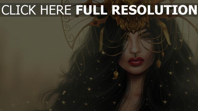 hd hintergrundbilder mädchen maske löwe make-up fantasie malerei