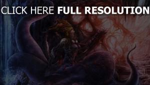 höhle monster kette mädchen tentakel