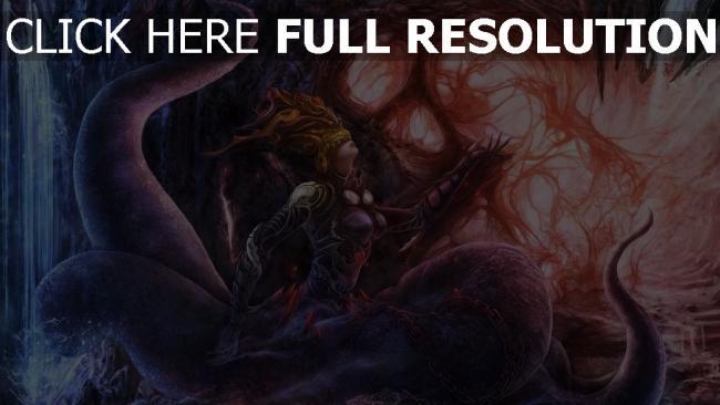 hd hintergrundbilder höhle monster kette mädchen tentakel