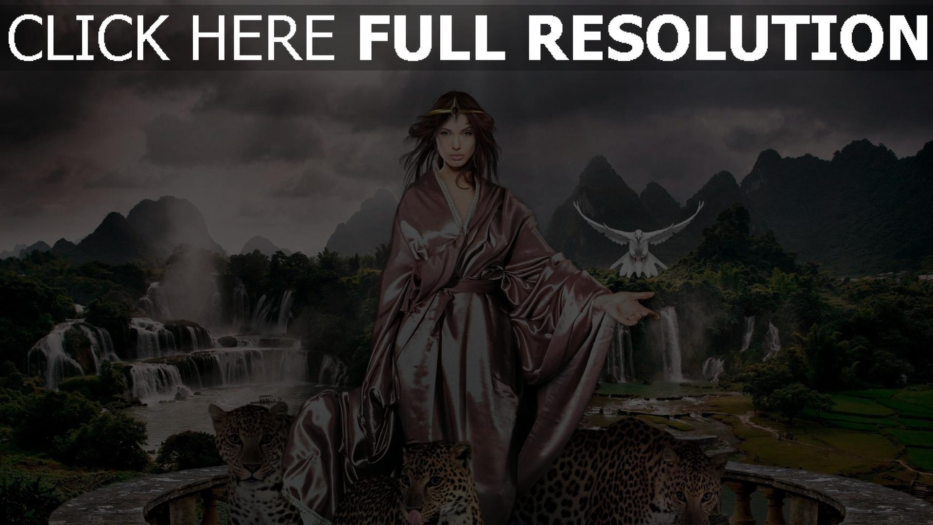 hd hintergrundbilder räuber landschaft flug jaguare vögel mädchen wasserfall 1920x1080