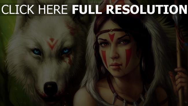hd hintergrundbilder speer krieger wolf mädchen