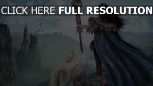 mädchen wolf krieger berge ruinen