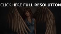 wasser fantasie kleid flügel malerei mädchen