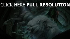 schlange mann pferd ketten wolf zähne