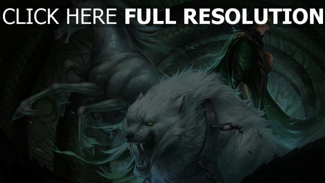 hd hintergrundbilder schlange mann pferd ketten wolf zähne