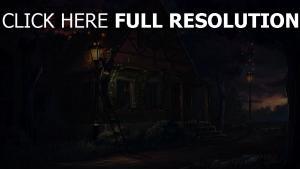licht nacht malerei haus märchen