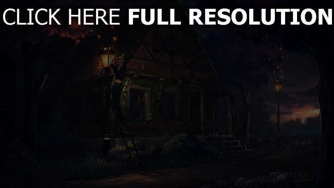 hd hintergrundbilder licht nacht malerei haus märchen